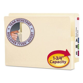 Smead 1 3/4-inch Exp End Tab File Pocket Straight Tab Legal Manila (Box of 25)