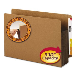 Smead 3 1/2-inch Exp File Pockets Straight Tab Legal Brown (Box of 10)