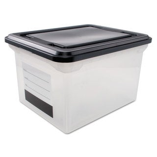 Innovative Storage Designs File Tote with Contents Label Letter/Legal Clear/Black