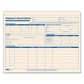 TOPS Employee Record Master File Jacket Document 9 1/2 x 11 3/4 10 Point Manila (Box of 15)