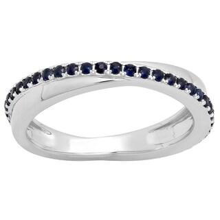 10k Gold 1/2ct TW Round Blue Sapphire Eternity Ring