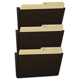 Storex Wall File Letter 13 x 14 Three Pocket Smoke