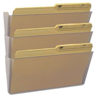 Storex Wall File Legal 16 x 14 Three Pocket Clear