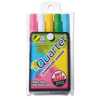 Quartet Glo-Write Fluorescent Marker Five-Color Set Assorted 5/Set
