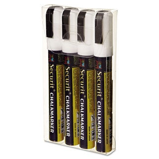 deflecto Liquid Chalk Marker Chisel White 4/Pack