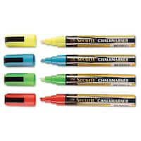deflecto Liquid Chalk Marker Chisel Assorted 4/Pack