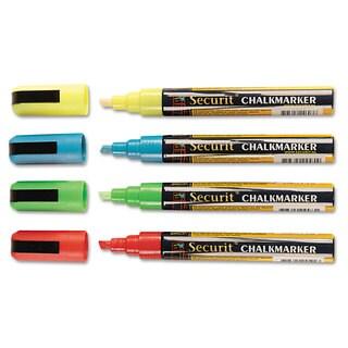deflecto Liquid Chalk Marker Chisel Assorted 4/Pack