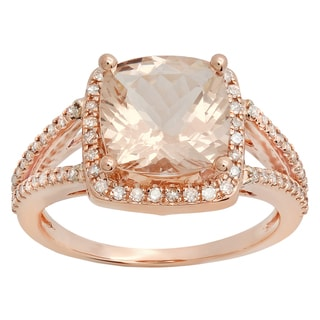 14k Rose Gold 2 3/4ct TW Cushion-cut Morganite and Round Diamond Accent Engagement Ring (I-J, I1-I2)