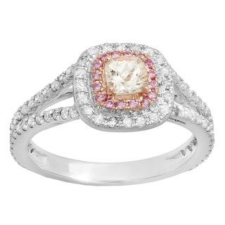 10k Two-tone Gold 1ct TW Cushion Gemstone and Diamond Accent Halo Split Shank Engagement Ring (I-J, I1-I2)