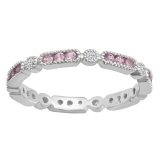 14k Gold 1/2ct Round Pink Sapphire and White Diamond Accent Vintage Wedding Eternity Band (I-J, I2-I3)