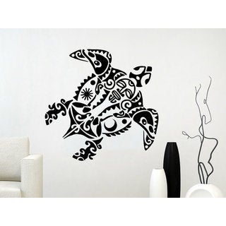 Sea Turtle Wall Decal Ocean Sea Animals Decals Wall Vinyl Sticker Decal size 22x26 Color Black
