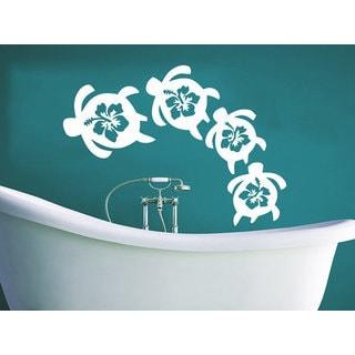Turtle Flowers Tortoise Tortoiseshell Ocean Sea Bathroom Sticker Decal size 48x57 Color Black