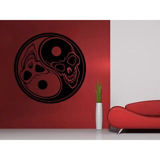 Skull Yin Yang Symbol Yoga Vinyl Sticker Decals Home Decor Sticker Decal size 44x44 Color Black