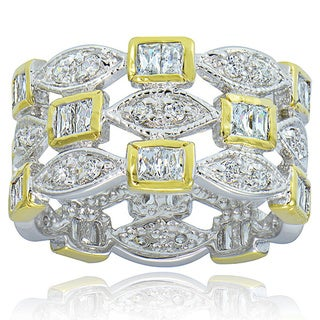 Icz Stonez Sterling Silver/18k Gold CZ Three-row Ring