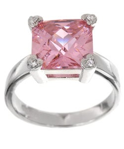Icz Stonez Sterling Silver Princess-cut Pink Cubic Zirconia Square Ring (9.56ct TGW)