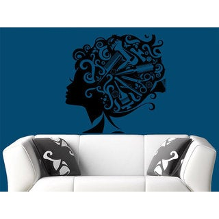 Makeup Wall Decal Vinyl Sticker Decals Home Decor Mural Make Up Girl Eyes Woman Sticker Decal size 48x48 Color Black