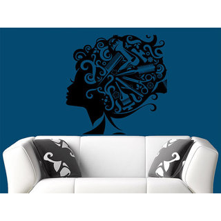 Makeup Wall Decal Vinyl Sticker Decals Home Decor Mural Make Up Girl Eyes Woman Sticker Decal size 33x33 Color Black