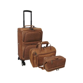 Amerileather Brown Leather Rock-print 3-piece Spinne Luggage Set
