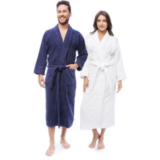 Superior Collection Luxurious 100-percent Premium Long-staple Combed Cotton Unisex Terry Bath Robe Medium Size(As Is Item)