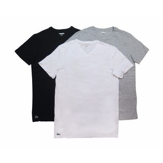 Lacoste Men's Black, Grey, White Cotton V-neck 3-pack Undershirts