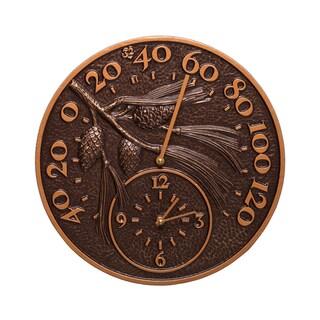White Hall Pinecone Antique Copper Thermometer Clock