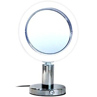 Rucci Normal View Chrome LED Stand Mirror 7X Plus Free 3-in-1 Compact Mirror
