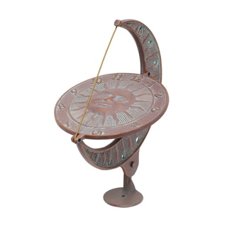 White Hall Sun and Moon Copper Verdigris Aluminum Sundial