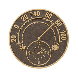 Whitehall Brown Aluminum Solstice Thermometer Clock