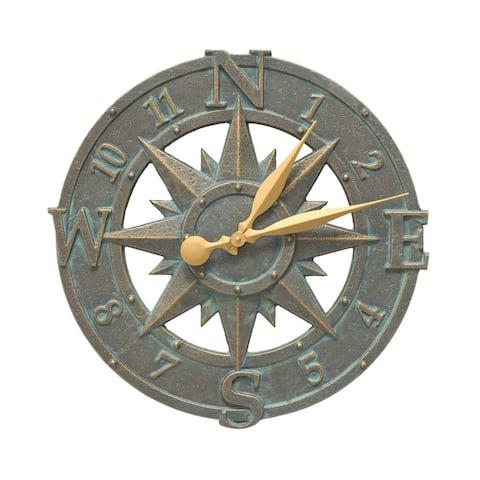 White Hall Compass Rose Aluminum 16-inch Clock