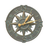 White Hall Compass Rose Aluminum 16-inch Clock
