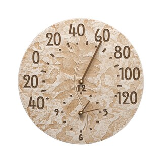 White Hall Fossil Sumac Brown Weathered Limestone Aluminum Thermometer Clock