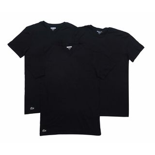 Lacoste Men's Black Cotton V-neck Undershirts (Pack of 3)