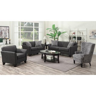 Porter Medusa Charcoal Grey Mid Century Modern Living Room Set with 4 Snakeskin Accent Pillows and Chair Options