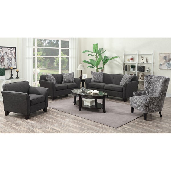 Porter Medusa Charcoal Grey Mid Century Modern Living Room Set With 4  Snakeskin Accent Pillows And