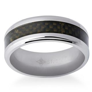 Men's Stainless Steel/Black Carbon Fiber 8-millimeter High-polish Ring