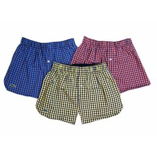 Lacoste Men's Blue, Red, and Yellow Cotton Gingham Boxer Briefs (Pack of 3)