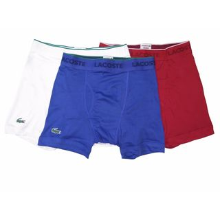 Lacoste Men's Blue/White/Cherry Red Cotton Boxer Briefs (Pack of 3)