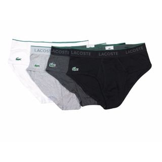 Lacoste Men's Black/Gray/White/Charcoal Briefs (Pack of 4)