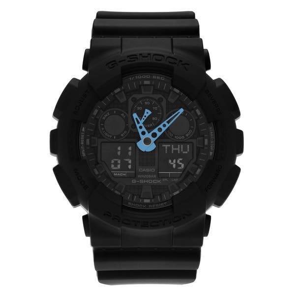 bf6e83c33 Shop Casio G-Shock Black Rubber and Stainless Steel Men's Analog and Digital  Watch - Free Shipping Today - Overstock - 14074790