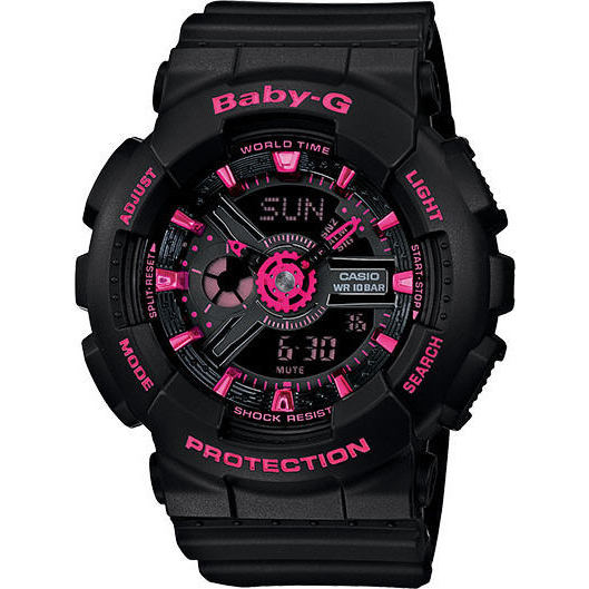 4f0d347a9 Shop Casio Baby-G Mini GA110 Series Women's Sports Watch (Black/Pink) -  Free Shipping Today - Overstock - 14074807