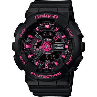 Casio Womens's G-Shock BA111-1A Black Rubber Analog and Digital Watch