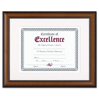 DAX Prestige Document Frame Matted with Cert Walnut/Black 11 x 14 8 1/2 x 11