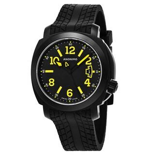 Anonimo Men's AM-2000.02.010.A01 'Sailor' Black/Yellow Dial Black Rubber Strap Swiss Mechanical Watch