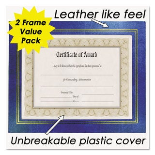 NuDell Leatherette Document Frame 8-1/2 x 11 Blue (Box of 2)
