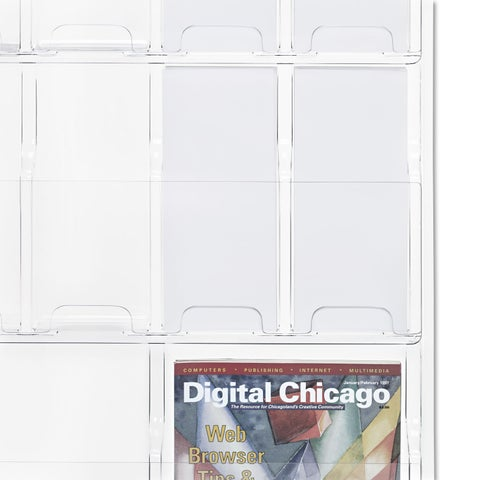 Safco Reveal Clear Literature Displays 18 Compartments 30-inch wide x 2-inch deep x 45-inch high Clear