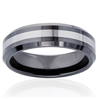 Men's Tungsten/Black Ceramic 7-millimeter Classic Band