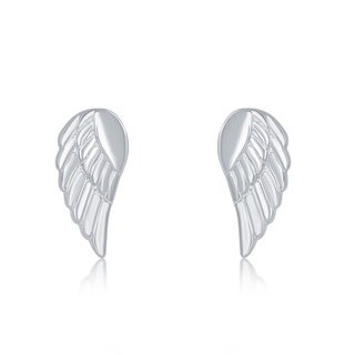 La Preciosa Sterling Silver Small Angel Wing Stud Earrings