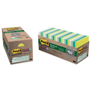 Post-it Notes Super Sticky Recycled Notes in Bora Bora Colors 3 x 3 70-Sheet 24/Pack