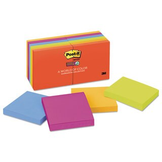 Post-it Notes Super Sticky Pads in Marrakesh Colors 3 x 3 90-Sheet 12/Pack