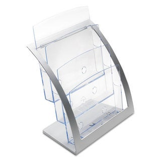 deflecto Three-Tier Magazine Holder 11 1/4-inch wide x 6 15/16-inch deep x 13 5/16-inch high Silver